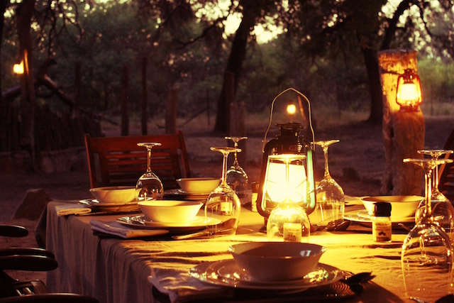 picture of dinner on south african hunting safari